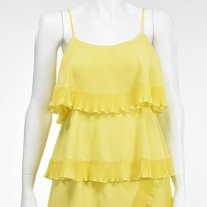 YOANA BARASCHI Yellow Silk Ruffled Sun Dress
